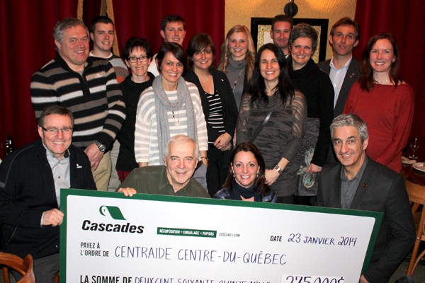 Cascades donates a record sum to United Way Centre-du-Québec